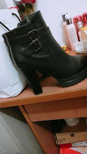 雅诗莱雅女靴子 女短靴冬季新款粗跟高跟马丁靴女冬 正码黑色 热卖37 晒单图