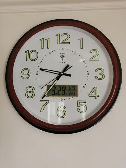 北极星 挂钟客厅静音时尚简约挂钟日历显示LED 2901 夜光 红木色 晒单图