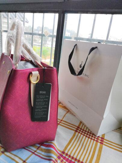 Aman女包手提包 欧美时尚百搭优雅妈妈包 斜挎手提手拎包 6118 酒红色小字母 大号 晒单图