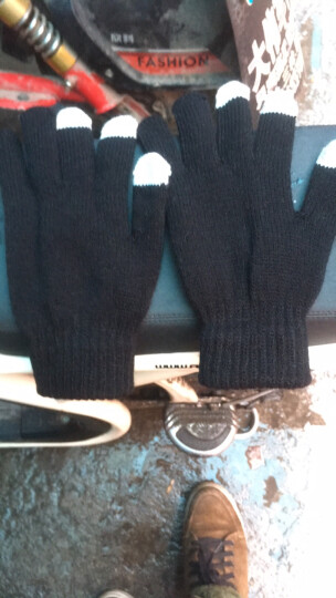 卡兰薇触摸屏手套韩版学生可爱全指骑车针织手套两种戴法 黑色 晒单图