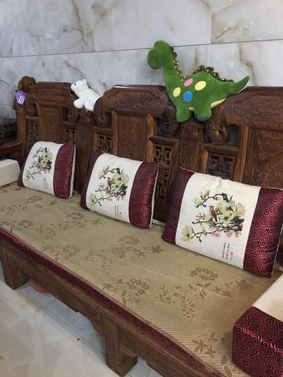 千功坊红木沙发坐垫订做古典家具坐垫定制沙发垫中式布艺沙发坐垫实木沙发垫定做罗汉床垫定制 米色牡丹 扶手定做 晒单图