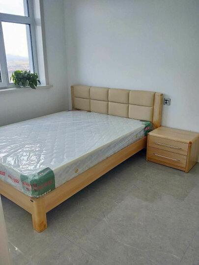 A家 床 框架实木床 1.5米 1.8米北欧双人床单人储物高箱床现代简约软包皮床主卧卧室家具 简易款+床垫+床头柜*1 框架床(1500mm*2000mm) 晒单图