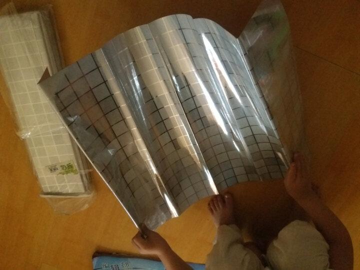 青苇 厨房防油烟贴纸 铝箔 防油污抽屉贴纸 防水可自粘 银色马赛克 8张装 晒单图