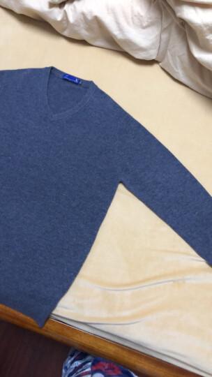 袋鼠 羊毛衫男2020新款毛衣男士纯色V领加厚冬季青年韩版针织打底衫 DS67756 灰色(圆领) 180 晒单图