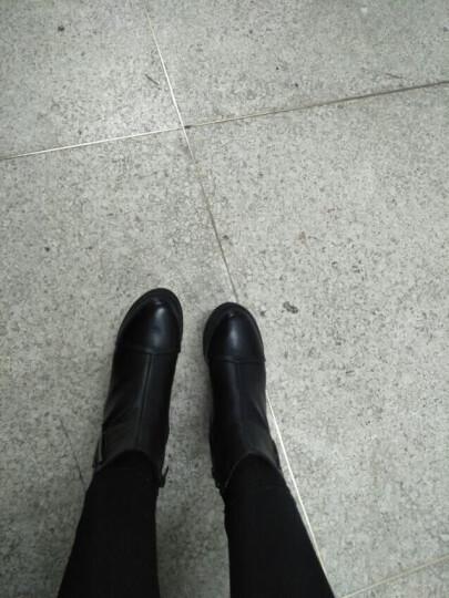 莱卡金顿(LAIKAJINDUN) 内增高女靴秋冬季新款英伦风短靴松糕厚底时尚马丁靴女鞋 BN1775-1黑色 36 晒单图