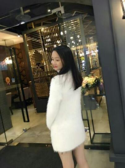 KUFANXI香港潮牌2019冬季高领毛衣海马针织衫套头中长款长袖宽松毛绒绒打底衫外套女 大红色 M 晒单图