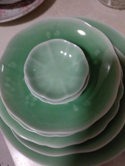 瓯江(OUJIANG)龙泉青瓷牡丹中餐盘冷菜垫盘玫瑰菜盘陶瓷家用平盘 8寸牡丹梅子青 晒单图