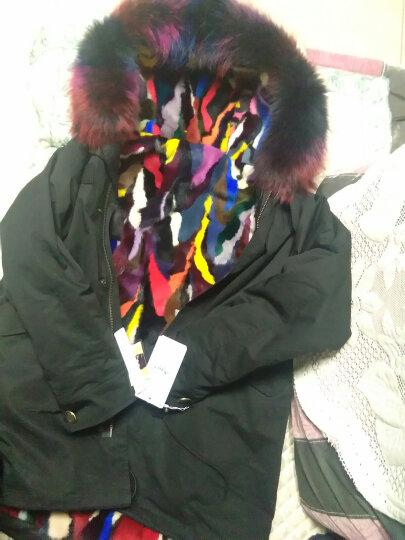 牧菲 派克服大衣女中长款皮草外套貉子毛大毛领水貂皮内胆 短款素拼 XL 晒单图