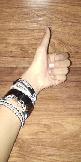 学生韩版个性皮质硅胶手环男情侣手链女男手镯简约个性小饰品手串 白色小码(送戒指) 晒单图