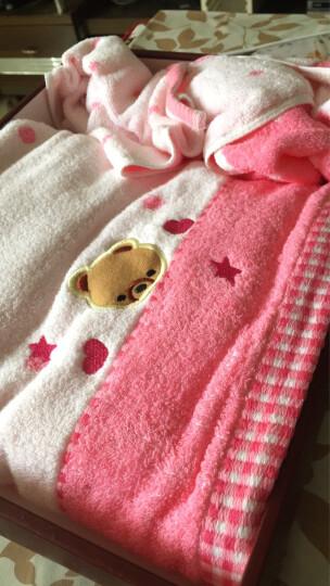 三利 纯棉无捻纱绣小熊方巾/毛巾/浴巾礼盒装三件套 粉色 晒单图