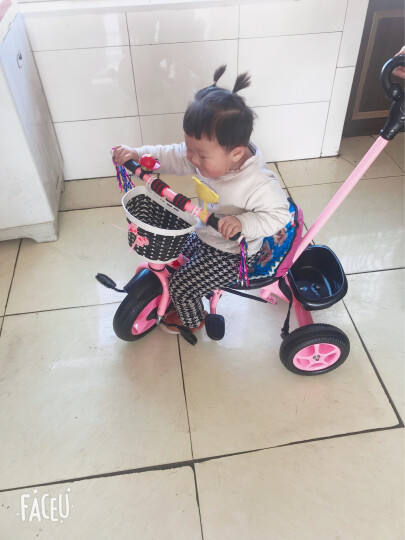 嘟嘟兔 手推儿童三轮车脚踏车宝宝车孩子童车幼儿玩具车小孩三轮车手推车1-2-3-4岁 免充气胎粉色双脚踏带手推杆+安全带 晒单图