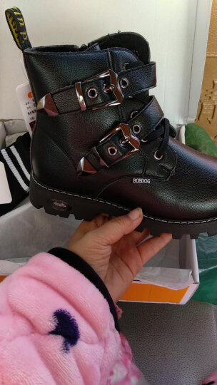 巴布豆(BOBDOG) 童鞋  男童靴子马丁靴2019冬季新款加绒儿童皮棉鞋防水皮靴短靴 153 棕色 34码内长22cm 晒单图