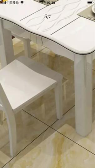 【5折限时抢】古宜(Guyi)小户型长方形现代简约时尚餐桌椅组合白色烤漆餐厅大理石实木餐桌子饭桌 1.5*0.9米一桌6椅(牛角镂空椅) 晒单图
