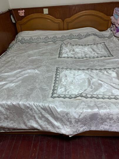 贝思羊家纺婚庆床上四件套纯棉床单贡缎提花全棉床上用品床品套件1.5米 沁香花语-浅蓝 2米床/适用被套220*240 晒单图