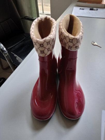 WEINIWOLF雨鞋女低筒保暖加绒成人水靴加厚防滑水鞋耐磨雨靴防水鞋子 蓝色加棉套拍大一码 37/230mm 晒单图