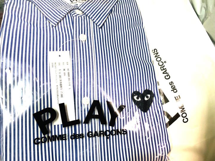 Comme des Garcons Play   日本潮牌  男士衬衫偏大一码 蓝色条纹B008 L 晒单图