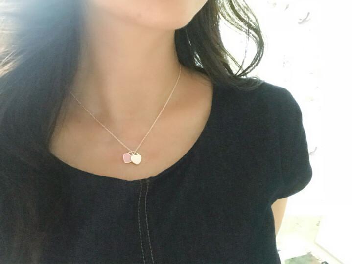 蒂芙尼(Tiffany & Co.)925银镶双心形 珐琅蒂芙尼项链 粉红色 晒单图