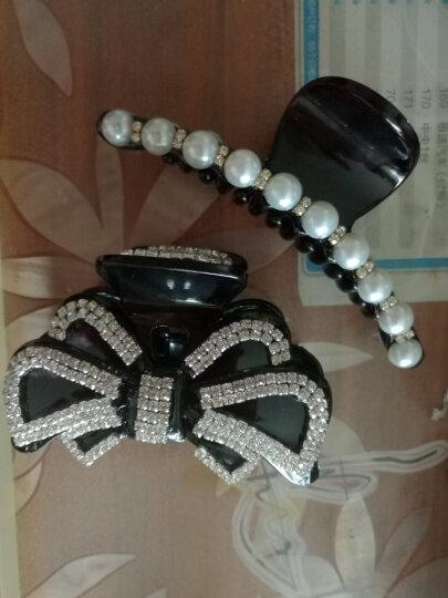雅蝶娜  韩国饰品气质日韩白色珍珠水钻头饰发卡子发夹子大号发抓夹 黑色(10颗珠子) 晒单图
