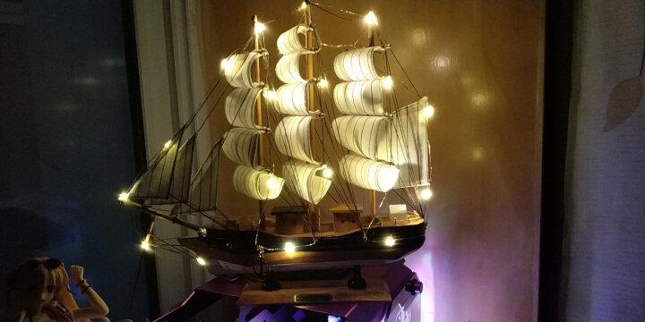 翻旧事 一帆风顺帆船摆件装饰品创意家居客厅办公室地中海手工木制工艺品帆船模型摆设 40CM蓝黑帆船带灯 0 晒单图