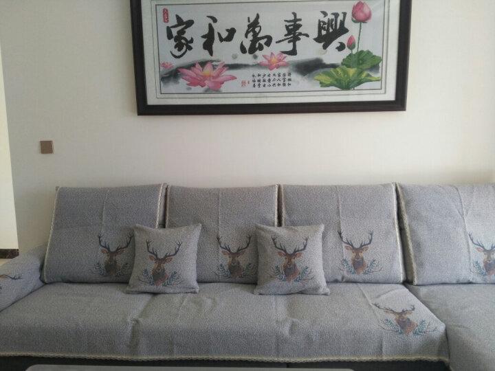 现代简约防滑沙发垫沙发罩巾四季通用棉麻沙发垫客厅沙发坐垫全盖 森绿 45*45cm抱枕套单条装 晒单图