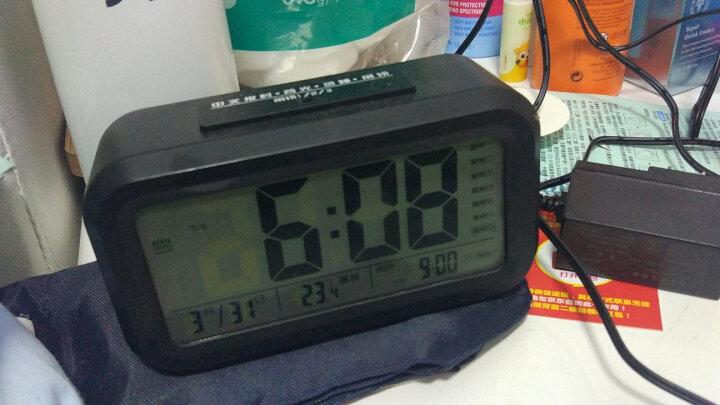 天章办公(TANGO) 探戈电子温度计多功能日历时钟闹钟 办公桌面电子时钟 语音报时 夜光自动感应 黑色 晒单图