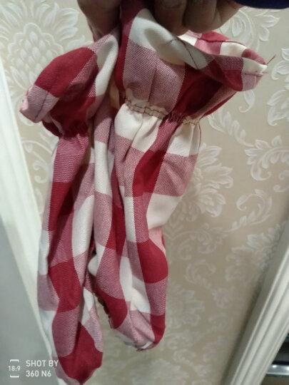 FaSoLa 围裙女 厨房防油防污袖套 罩衣 家居防护罩工作服 灰白格背带式围裙 晒单图