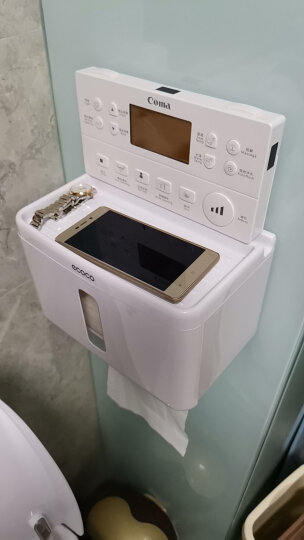 意可可(ecoco) 吸盘式卫生间纸巾盒厕纸盒免打孔厕所纸巾架浴室置物架防水抽纸盒卷纸筒 简约白 晒单图
