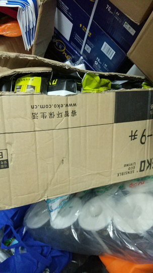 EKO垃圾袋自营 大号加厚点段抽绳家用手提塑料袋 25-35升12个/卷 晒单图