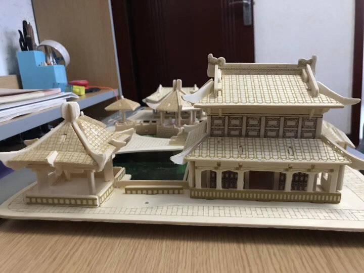 儿童益智玩具立体拼插木质木制3D立体拼图古建筑四合院拼图天坛积木拼装模型 岳阳楼 晒单图