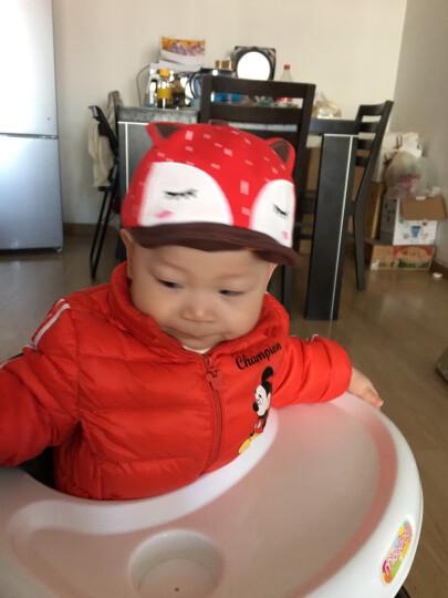 婴儿帽子春秋纯棉宝宝帽6-12-24个月全棉保暖帽儿童帽子鸭舌帽 红色(鸭舌狐狸套装) 晒单图