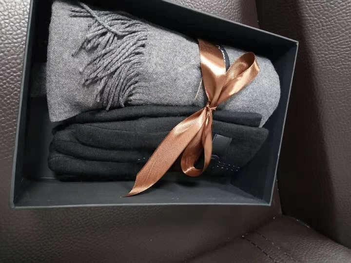 圣诞节礼物送男友男朋友送老公爱人浪漫结婚纪念日送爸爸高档实用生日礼物围巾手套两件套礼盒男生男士 卡其色围巾+黑色手套礼盒礼袋 晒单图