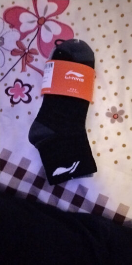 李宁 LI-NING 羽毛球袜 运动袜 短袜 加厚男款AWSL163-3白/灰/绿 3双装 晒单图
