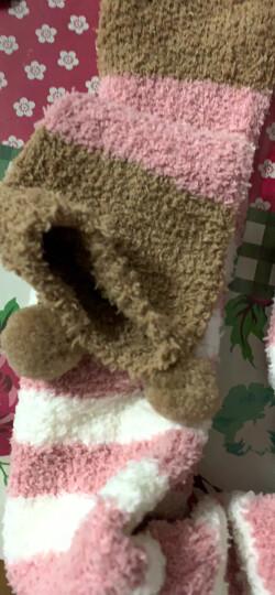 儒侠 秋冬珊瑚绒袜子过膝袜套加厚保暖月子袜护膝长筒护腿套脚套毛绒睡眠袜可爱居家室内地板袜 粉条小呆熊 均码 晒单图