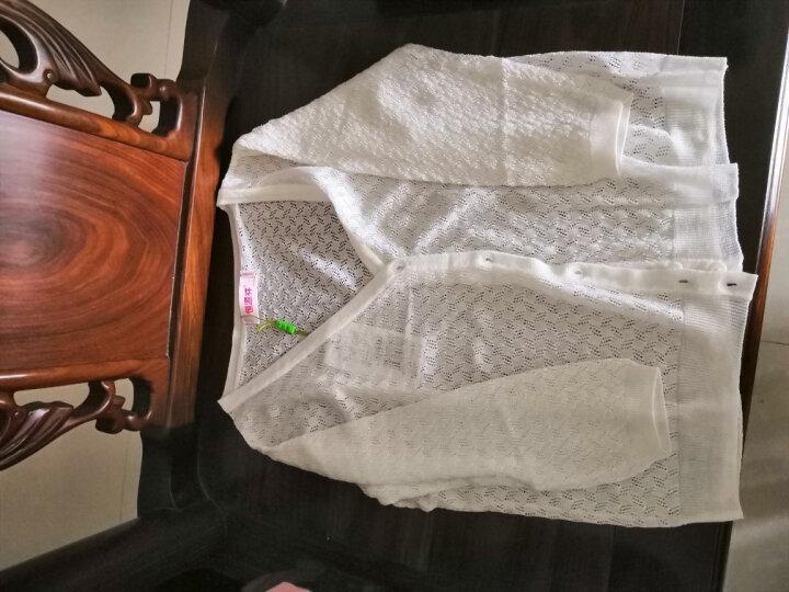 2017年夏季新款恒源祥针织衫女开衫外搭夏薄短款镂空冰丝防晒披肩外套空调衫女 白色EB0009 175/96A/XXL 晒单图