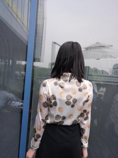莱娅斯 真丝衬衫女长袖桑蚕丝2019春夏装新款韩版修身时尚衬衣百搭蝴蝶结上衣 白色小方块长袖 XXL 晒单图