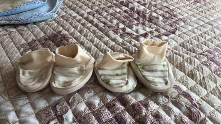 南极人(Nanjiren) 南极人婴儿脚套  新生儿鞋子纯棉护脚套 宽五彩条纹-四季款 8CM(适合0-3个月左右的宝宝,内长8CM) 晒单图
