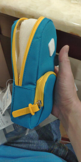 得力(deli)大容量笔袋创意书包款铅笔收纳袋/吸铁站立式 浅蓝66759 晒单图