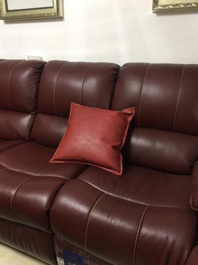 咪咖(MICOZY) 抱枕靠垫套油蜡皮高品质现代皮质沙发靠枕床头靠背汽车腰枕 办公室靠垫 YL-06 红色 45*45cm(含芯) 晒单图
