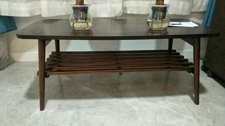实木腿茶几小桌子客厅小户型现代简约北欧简易茶几桌 白色面板深胡桃色脚 晒单图