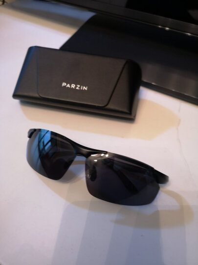 帕森(PARZIN)运动太阳镜男款铝镁偏光镜司机驾驶墨镜8003 枪框反光膜冰蓝片 晒单图