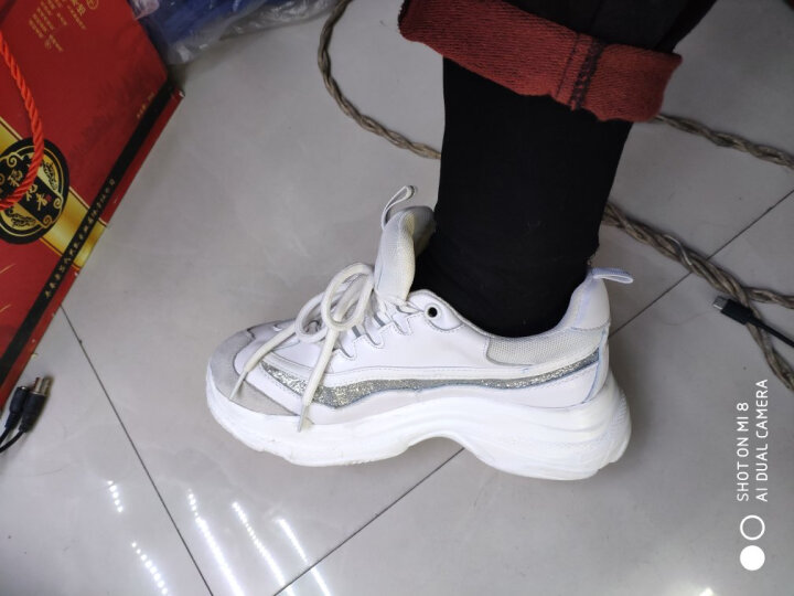 Lordel休闲鞋女鞋2019春秋季新品真皮小白鞋女跑步运动鞋老爹厚底松糕深口平底单鞋 黑色 35 晒单图