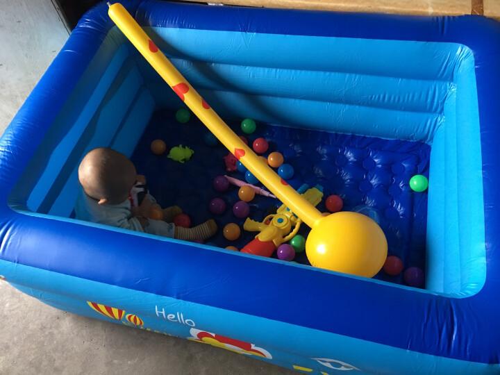 酷迪 儿童游泳池婴儿超大充气家用三环洗澡桶海洋球池 2层泡泡底120*85*35(手动豪华套装) 晒单图