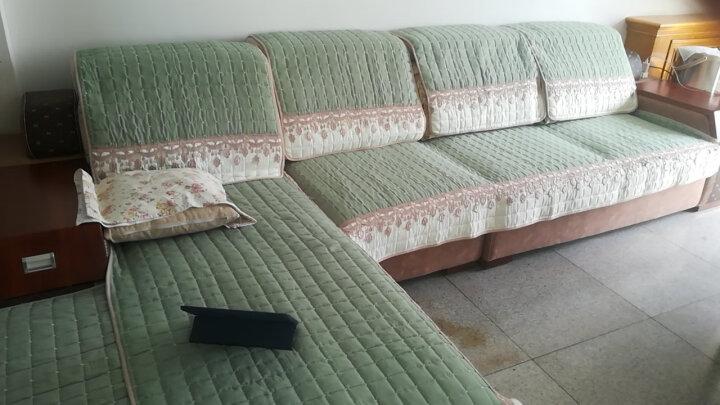 【中秋节优惠】宜然居 四季沙发垫套装全棉沙发垫套罩坐垫可定制 g花漾-浅绿色 90*180cm一片 晒单图