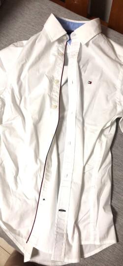 汤米/TOMMY HILFIGER新款男装修身版棉纯色男士衬衫衬衣 423 亮蓝 L 晒单图