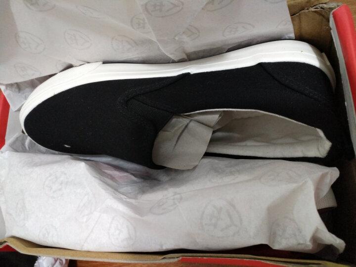 人本帆布鞋儿童布鞋男童鞋子女童小白鞋宝宝一脚蹬懒人鞋新款童鞋 黑色 37 晒单图