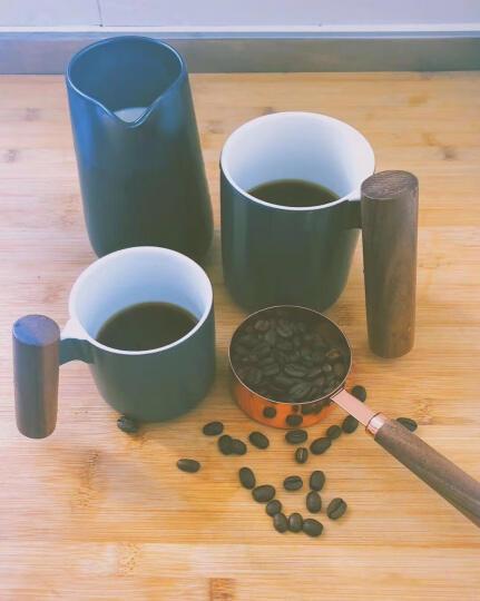 川岛屋 北欧简约冷色陶瓷木柄马克杯茶壶小资情调咖啡杯碟B-94 250CC咖啡杯碟冷灰 晒单图
