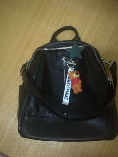 慕力斯 正品真皮双肩包女两用新款妈咪包韩版背包羊皮休闲大容量学习旅行包 黑色 晒单图