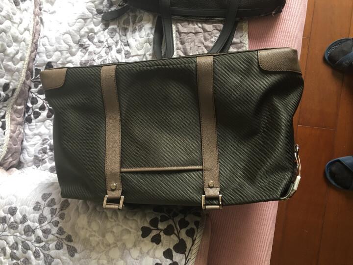 派保爵pabojoe旅行包男女通用大容量手提包席纹防水帆布手提行李包袋男包59001 墨绿色 晒单图