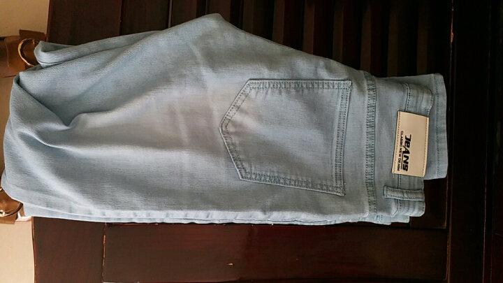 ShiBeiLun牛仔裤男士2017直筒铅笔欧版小脚宽松哈伦纯色显瘦紧身大码装修身长裤子 雪花款 27码 ( 2尺 ) 晒单图