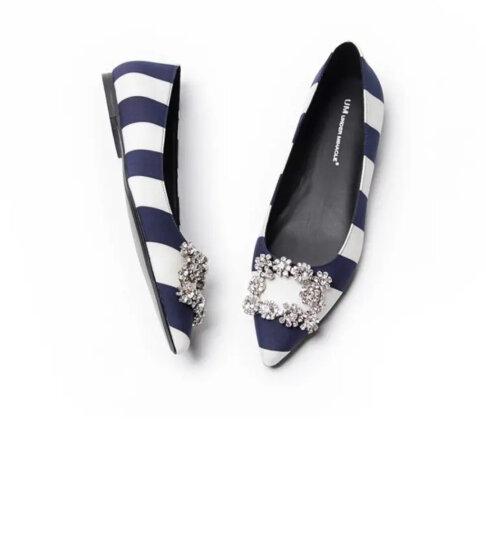 忐忑女鞋尖头方钻条纹缎面百搭平底单鞋 黑白条纹 35 晒单图